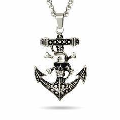 Skull and Crossbones Anchor Pendant Length 18 inches (Lengths 18 inches 20 inches 24 inches Available) Eve's Addiction. $29.00. Approximate Weight: 8.5 grams. Charm Size: 2 inch anchor