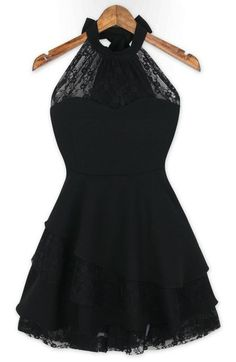 Black Lace Halter + Ruffles Chiffon Dress.I'd probably downplay this with some skinny bootcut jeans,a tshirt underneath,and some boots,or upplay it with some black leggings,a string of pearls,and ballet flats.