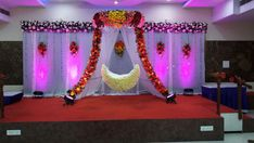 "Naming Ceremony Decoration or Cradle Ceremony Decoration planners, organizers, and decorators in Pune. Naming Ceremony is also known as ""Cradle"" and in Marathi ""Barse"" or ""Namkaran Sohala"".Sukanya Events have tremendous naming ceremony decorations. Wedding Stage Backdrop, Wedding Hall Decorations, Wedding Mandap, Baby Shower Decorations For Boys, Backdrop Decorations, Flower Decorations, Stage Backdrops, Naming Ceremony Decoration, Marriage Decoration"
