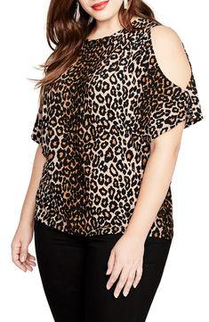 Rachel Rachel Roy Trendy Plus Size Cold-Shoulder Leopard-Print Top - Brown Stylish Plus, Trendy Plus Size, Plus Size Tops, Bold Fashion, Curvy Fashion, Plus Size Fashion, Leopard Print Outfits, Leopard Print Top, Plus Size Dresses