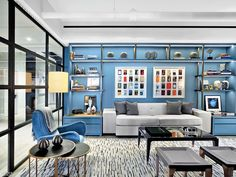 New York Interior design and custom furniture for a modern apartment in lower Manhattan. Bedroom Study Area, Home Bedroom, Bedroom Decor, Contemporary Interior Design, Interior Decorating, Apartments Decorating, Decorating Bedrooms, Decorating Ideas, Decor Ideas