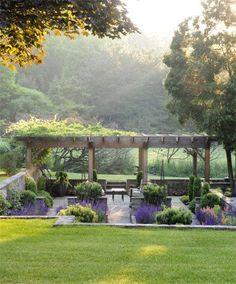 Backyard Garden On A Budget backyard garden pergola vines.Beautiful Backyard Garden Tips. Backyard Garden Design, Backyard Landscaping, Balcony Garden, Landscaping Ideas, Sloped Backyard, Side Garden, Backyard Designs, Tropical Landscaping, Pergola Designs
