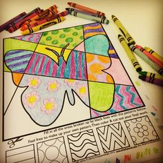 "Spring interactive and pattern filled coloring sheets in 4 designs, butterfly, bee, flower and snail. Kids love having to think about how to create these designs and where to place the patterns and colors. These are so much more than ""Just coloring""!"