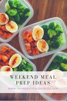 Healthy Meals weekend meal prep More - An easy meal prep idea for a week full of healthy lunches. Start with roasted sweet potatoes, steamed broccoli and two hard-boiled eggs for a complete meal. Weekend Meal Prep, Lunch Meal Prep, Meal Prep Bowls, Meal Prep For The Week, Easy Meal Prep, Healthy Meal Prep, Healthy Snacks, Healthy Eating, Healthy Weekend Meals