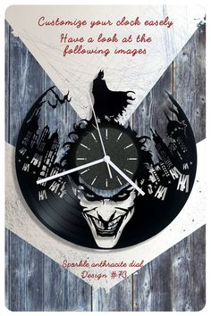 Batman vinyl wall clock Joker vinyl record clock by cheerlyshop