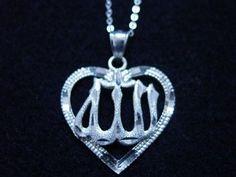 Pure Sterling Silver 925 Pendant Charm I love Allah Muslim Islam Jewelry Heart Jewelry