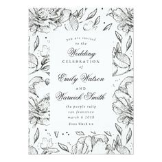 Black Elegant Hand Drawn Floral Wedding Invitation - click/tap to personalize and buy   #wedding #invitation #weddingideas #weddinginspiration  #flower #floral #botanical #garden #outdoor #nature #romantic #editable