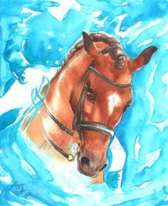Original Dressage Horse Painting  Blue Echoes by ATJartworks, $65.00