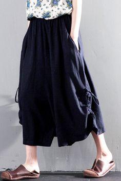2016  Navy summer linen skirt pants wide leg unique trousers