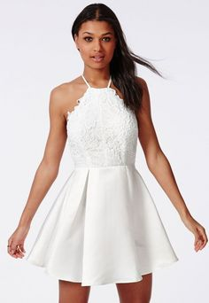 Lace Halterneck Skater Dress White - Dresses - Skater Dresses - Missguided
