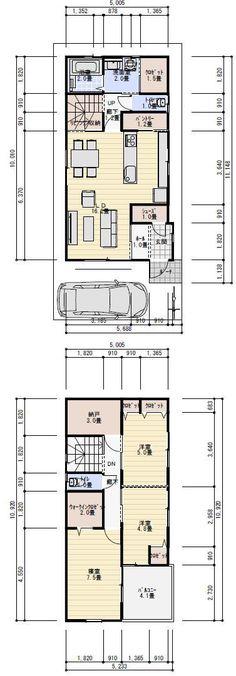 間取り 30坪 4LDK Home Interior Design, Laundry Room, Tiny House, House Plans, Floor Plans, How To Plan, Home Decor, Arquitetura, Decoration Home
