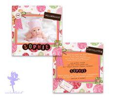 Baby- & Geburtskarten - Babykarte Geburtskarte Sophie - ein Designerstück von Feenstaub-Papeterie bei DaWanda