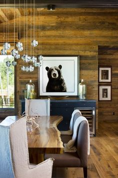 Contemporary Dining Room. Love the live edge table and wood plank walls, ceiling and floors!