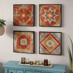 Leclair Gel Coated Decor Box 4 Piece Wall Décor Set - Moroccan Wall Decorations