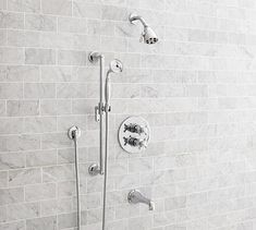 Warby Thermostatic Cross-Handle Bathtub & Hand-Held Shower Faucet Set, Chrome Finish