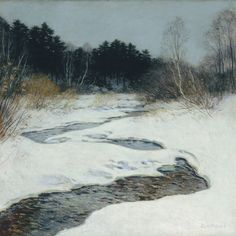 Willard Metcalf, Thawing Brook, 1917 Oil On Canvas 36 x 36 in. Columbus Museum G.1985.16