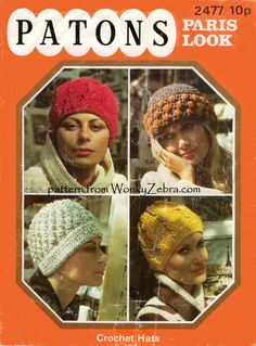 """WZ483 four textured crochet hats in one pattern...the """"Paris look""""-well it was in the 70s."""