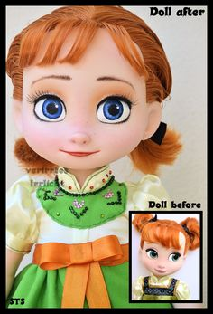 OOAK Frozen Repaint Disney Animators Anna Toddler Doll Limited to 1 Worldwide | eBay