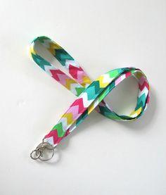 Lanyard ID Badge Holder Rainbow Chevron Keychain Keys