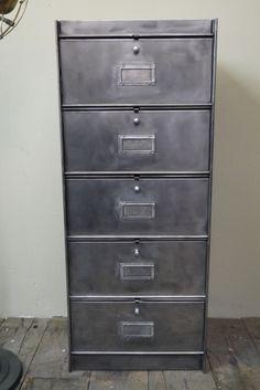 ancien meuble 5 casiers industriel a clapet Roneo 50/60