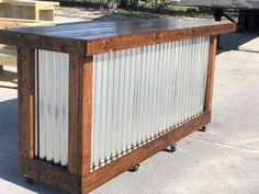 Plank Provincial - 8 foot mobile corrugated metal exterior patio bar BarThe Plank Provincial - 8 foot mobile corrugated metal exterior patio bar Bar Rustic Barnwood Bar w/ Bar Chairs Bundle Outdoor Patio Bar, Outdoor Kitchen Bars, Outdoor Decor, Outdoor Bars, Rustic Outdoor Bar, Patio Kitchen, Outdoor Kitchens, Bar Patio, Backyard Bar
