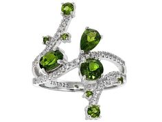 1.51ctw Round, Pear Shape And Oval Russian Chrome Diopside With .26ctw