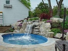 spool.. spa and pool with waterfall .. step by step pictures. See More. Backyard too small?