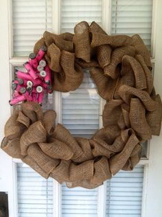 Burlap Wreath with Pink Shotgun Shells by TheNethouse on Etsy, $31.50