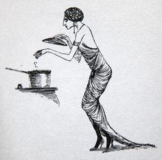 Edward Gorey illustration to Scrap Irony