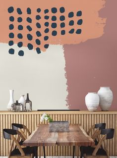 Neutral Abstract Painting Wall Mural Make your mark with this painterly wallpaper design. Distinctive block colours meet carefree paint strokes and loose pattern. Painting Wallpaper, Wall Wallpaper, Painting Walls, Painting Patterns On Walls, Hand Painted Walls, Painted Wall Murals, Wall Decor, Room Decor, Mural Art