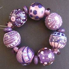 MruMru Handmade Lampwork Glass Bead  set Sra by magdalenaruiz, $45.00