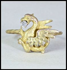 Antique Victorian 14k Dragon Ring with Mine Cut Diamond, Recycled Gold Stick Pin. Via Diamonds in the Library's jewelry gift guide.