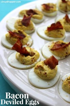 Bacon Deviled Eggs. Great idea for Easter Dinner.