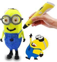 Leungyo 3D Doodler & 3D Printing Pen with LCD Display+ 3 ABS Filament Material Sample Pack + Power Adapter + Manual (Yellow)