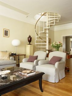 awesome spiral stair idea for living room. make over mads room: attic : sitting room