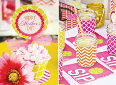 Colorful Modern Mother's Day Lunch Printables Set.