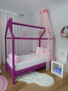Montessori kids bed, made in Latvia from the highest quality pine tree beams, painted with kids-friendly colors. Purple Bedding, Pine Tree, Kid Beds, Kids Furniture, Montessori, Beams, Toddler Bed, Colors, Home Decor
