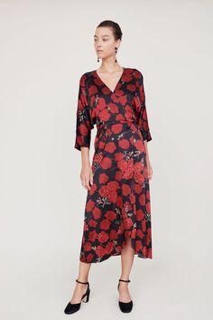 8f97215bd1d1 No.6 Viola Wrap Dress in Black Faux Croix Thanksgiving Outfit, Silk  Charmeuse,