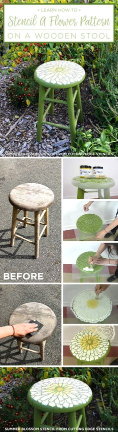 Learn how to stencil a wooden stool using the Summer Blossom Flower Stencil from Cutting Edge Stencils. http://www.cuttingedgestencils.com/flower-stencils-summer-blossom-floral-wall-stencil-design.html