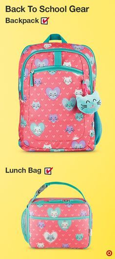Your child will be the hit of the classroom AND the cafeteria with this backpack/lunch box kitty-print combo by Crckt. The backpack features all the fixn's for back to school functionality and flair, topped off with a removable hanging plush kitty head. The lunch box features an insulated interior to keep food fresh, with an antimicrobial treatment that prevents mold and mildew build-up on the lining. Turn the adorability dial up to 10!