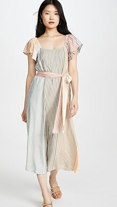RACHEL PALLY Ombre Check Sibil Dress. #rachelpally #cloth Rachel Pally, Catherine Deneuve, Belt Tying, S Models, Designer Collection, Scoop Neck, Cold Shoulder Dress, Sleeves, Clothes