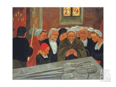 Prayer to Saint Herbot, or the Pardon (1893) by Paul Serusier, French (1864-1927), French - He was a French painter who was a pioneer of abstract art and an inspiration for the avant-garde Nabi movement, Synthetism and Cloisonnism (art.com)