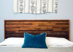 See how DIY Network turned a bunch of thrift-store leather belts into high-end looking headboard. Leather Headboard, Wood Headboard, Headboard Ideas, Bedroom Ideas, Bedroom Decor, Unique Headboards, Modern Headboard, Diy Leather Belt, Headboard With Lights