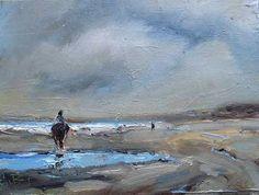 """Ölbild """"Horse and sea"""" 15x20cm oil on canvas panel"""