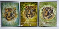 BaRb'n'ShEll Creations-Kaszazz Tiger cards - BaRb African Animals, Vintage Patterns, Handmade Cards, Cardmaking, Card Ideas, Shells, Projects To Try, Stamps, Scrapbooking