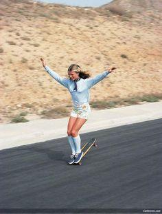 Ellen O'neal, freestyle skateboarder. 1970s
