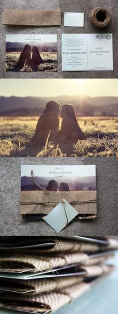 Invitación boda postal con detalles rústicos...