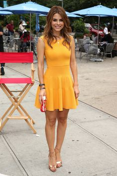 Maria Menounos Cocktail Dress - Maria chose a figure-flattering sunny orange A-line dress for her appearance at an event in NYC. Black Dress Outfits, Sexy Dresses, Fashion Dresses, Summer Dresses, Maria Menounos, Tangerine Dress, Yellow Dress, Sheer Dress, Fit And Flare
