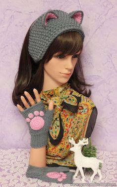 Купить Повязка на голову с ушками Кошка вязаная   Митенки с лапками комплект - повязка