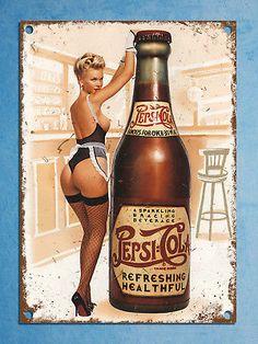 Pepsi pin up vintage retro style plaque kitchen pub bar metal sign tin man cave